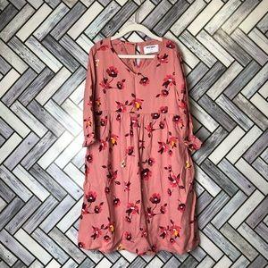 Old Navy Pink Floral Long Sleeve Lightweight Dress